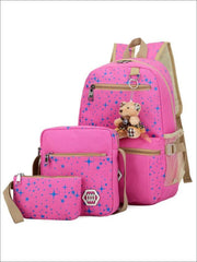 Girls 17 Sparkling Teddy Bear Backpack with Small Lunch Bag & Coin Pouch ( 4 Color Options) - Pink - Girls Backpacks