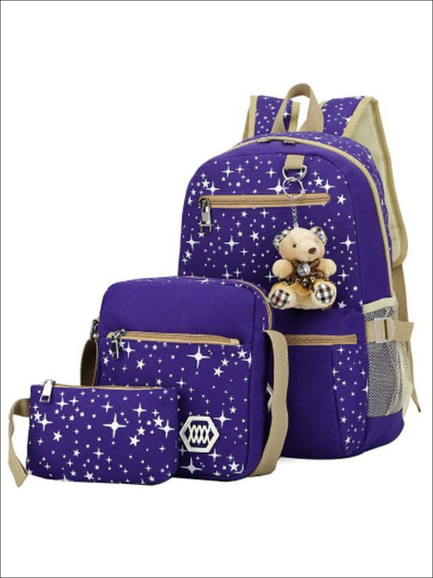 Girls 17 Sparkling Teddy Bear Backpack with Small Lunch Bag & Coin Pouch ( 4 Color Options) - Purple - Girls Backpacks