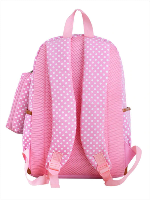 Girls 17 Waterproof Polka Dot 3pc Backpack Set - Girls Backpack