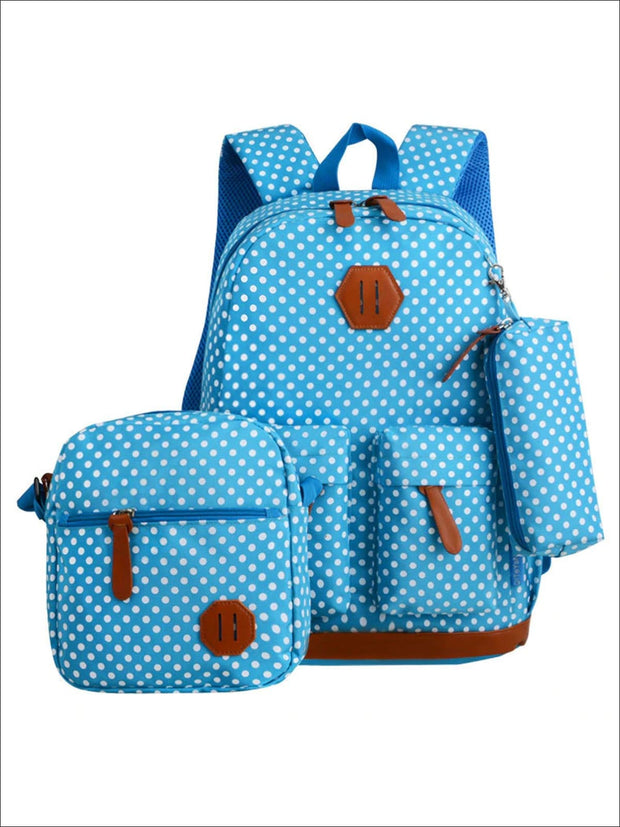 Girls 17 Waterproof Polka Dot 3pc Backpack Set - Blue - Girls Backpack