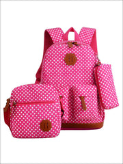 Girls 17 Waterproof Polka Dot 3pc Backpack Set - Hot Pink - Girls Backpack