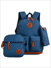 Girls 17 Waterproof Polka Dot 3pc Backpack Set - Navy - Girls Backpack