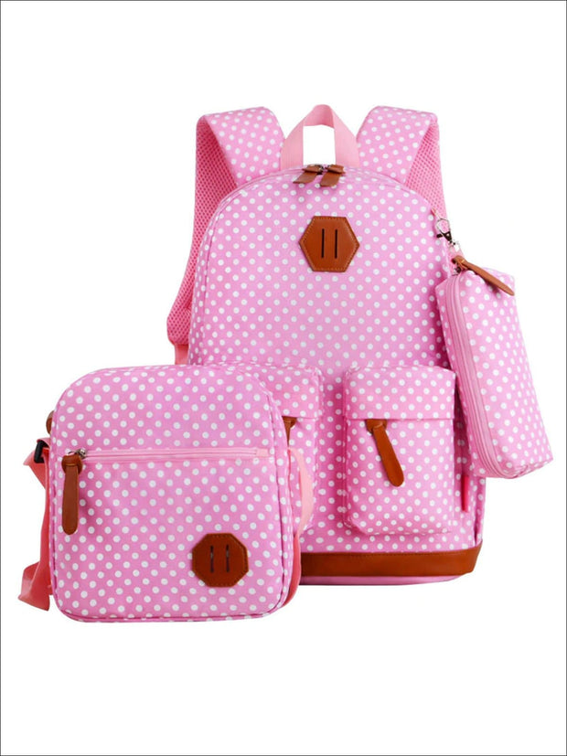 Girls 17 Waterproof Polka Dot 3pc Backpack Set - Pink - Girls Backpack