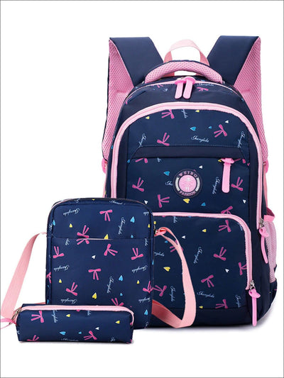 Girls 18 Ribbon & Heart Print 3pc Backpack Set - Blue - Girls Backpack