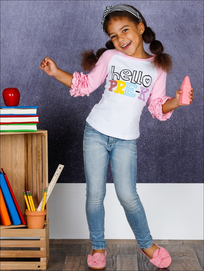 Girls 1st Day of School Hello Pre-K Ruffled Raglan Sleeve Top - Girls 1st Day of School