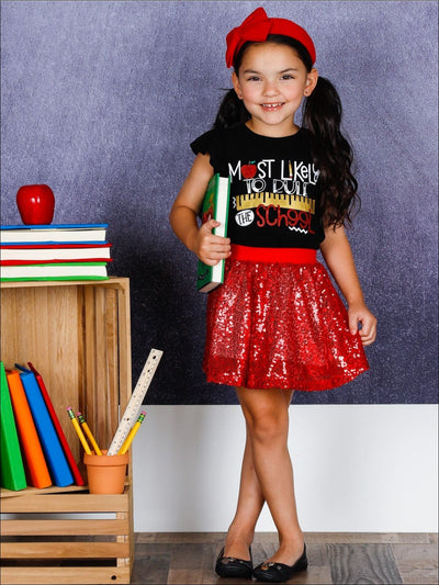 Girls 1st Day of School Most Likely to Rule the School Printed Flutter Sleeve Top & Sequin Skirt Set - Girls 1st Day of School