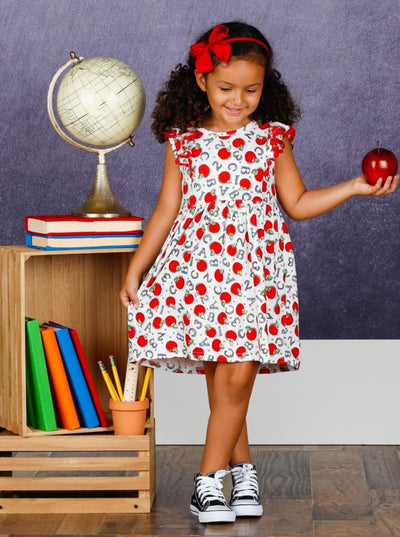 Girls 1st Day of School Numbers & Letters Apple Print Flutter Sleeve Dress - Girls 1st Day of School