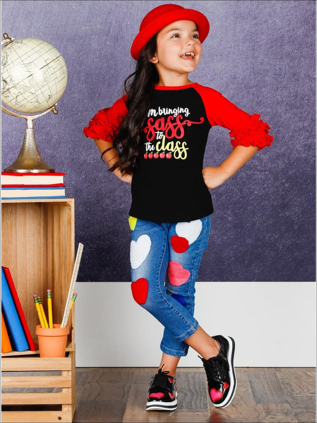 Girls 1st Day of School 1st Day of School Red & Black Long Ruffled Sleeve Bringing Sass to the Class Printed Color Block Top - Girls 1st Day
