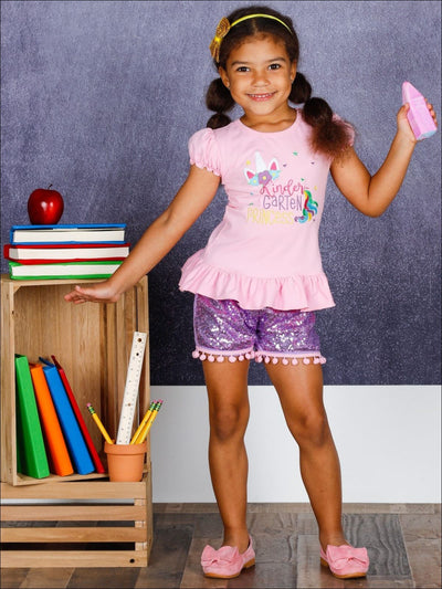 Girls 1st Day of School Ruffled Kindergarten Princess Unicorn Top & Pom Pom Sequin Shorts Set - Girls 1st Day of School