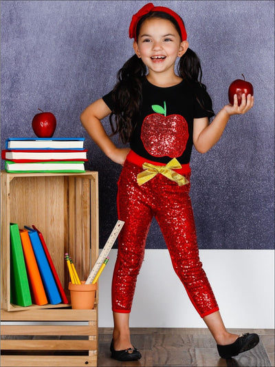 Girls 1st Day of School Sequin Apple Print T-shirt & Red Sequin Leggings Set with Bow - Girls 1st Day of School