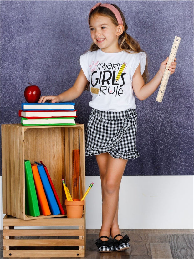 Girls 1st Day of School Smart Girls 1st Day of School Rule Ruffled Printed Top & Ruffled Gingham Skort - Girls 1st Day of School