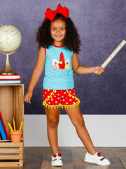 Girls 1st Day of School School Themed Unicorn Tank & Polka Dot Pom Pom Shorts Set - Girls 1st Day of School