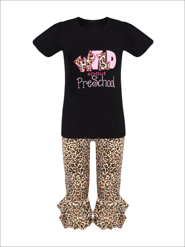 Girls 1st Day of School 1st Day of School Wild About Preschool Top & Animal Print Flared Ruffled Leggings Set - Black / S-3T - Girls 1st Day