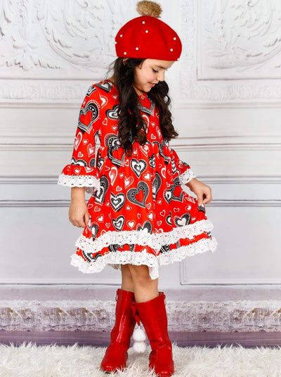Girls 2-Tiered Crochet Long Flared Sleeve Heart Print Dress - Girls Fall Casual Dress