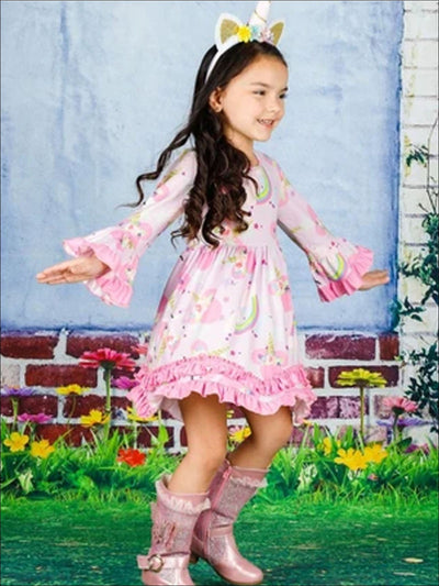 Girls 2-Tiered Crochet Long Flared Sleeve Unicorn Rainbow Dress - Girls Fall Casual Dress