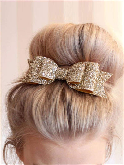 Girls 2pc Sequin Bow Tie Hair Clip Set - Hair Accessories