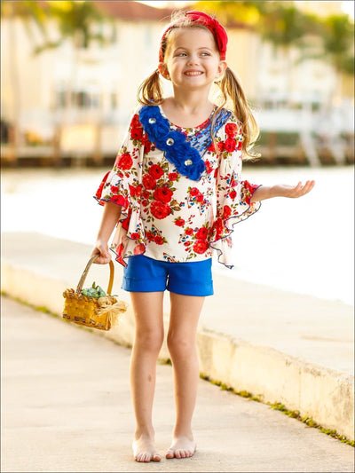 Girls 3/4 Ruffled Asymmetric Sleeve Tunic & Ruffled Shorts Set - Girls Spring Casual Set