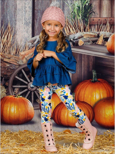 Girls 3/4 Sleeve Double Ruffled Denim Tunic & Floral Leggings Set - Girls Fall Casual Set