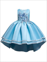 Girls 3D Flower Applique Hi-Low Special Occasion Party Dress - Blue / 3T - Girls Fall Dressy Dress