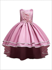 Girls 3D Flower Applique Hi-Low Special Occasion Party Dress - Pink / 3T - Girls Fall Dressy Dress