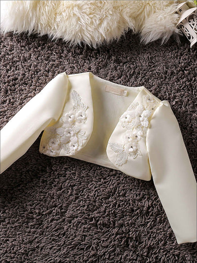 Girls 3D Flower Detail Satin Long Sleeve Bolero - Beige / 2T - Girls Jacket