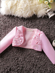 Girls 3D Flower Detail Satin Long Sleeve Bolero - Pink / 2T - Girls Jacket