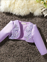 Girls 3D Flower Detail Satin Long Sleeve Bolero - Purple / 2T - Girls Jacket