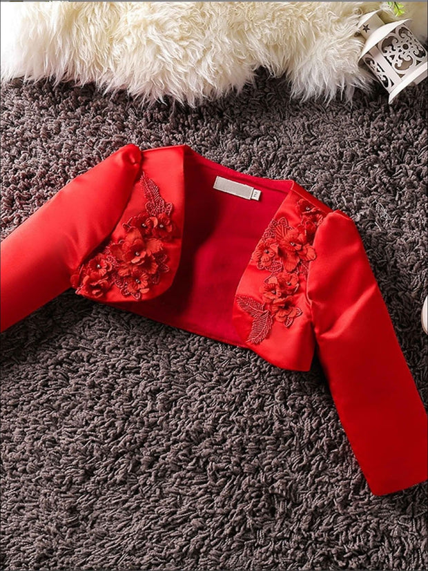 Girls 3D Flower Detail Satin Long Sleeve Bolero - Red / 2T - Girls Jacket
