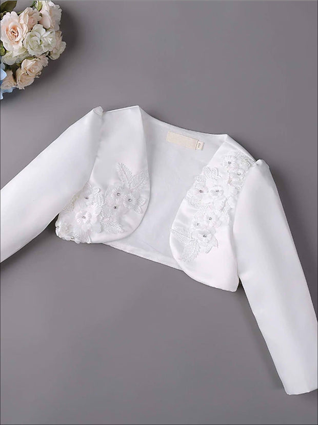 Girls 3D Flower Detail Satin Long Sleeve Bolero - White / 2T - Girls Jacket