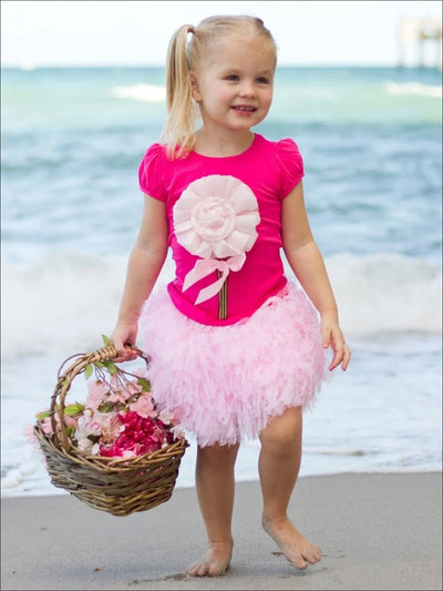 Girls 3D Flower Top w/ Puff Cap Sleeves - Girls Spring Top