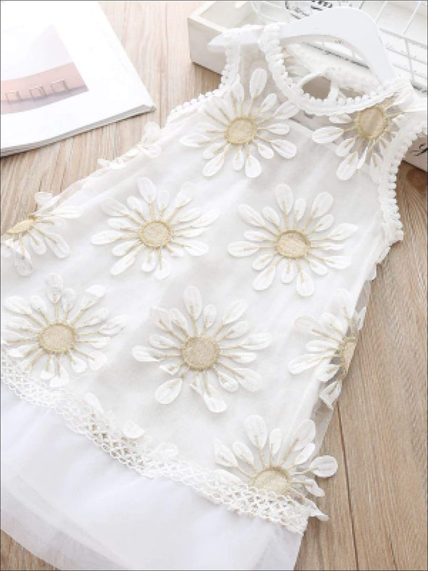 Girls Embroidery Sunflower Sleeveless Dress - Girls Spring Casual Dress