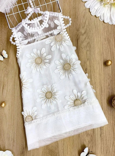 Girls Embroidery Sunflower Sleeveless Dress - White / 3T - Girls Spring Dressy Dress