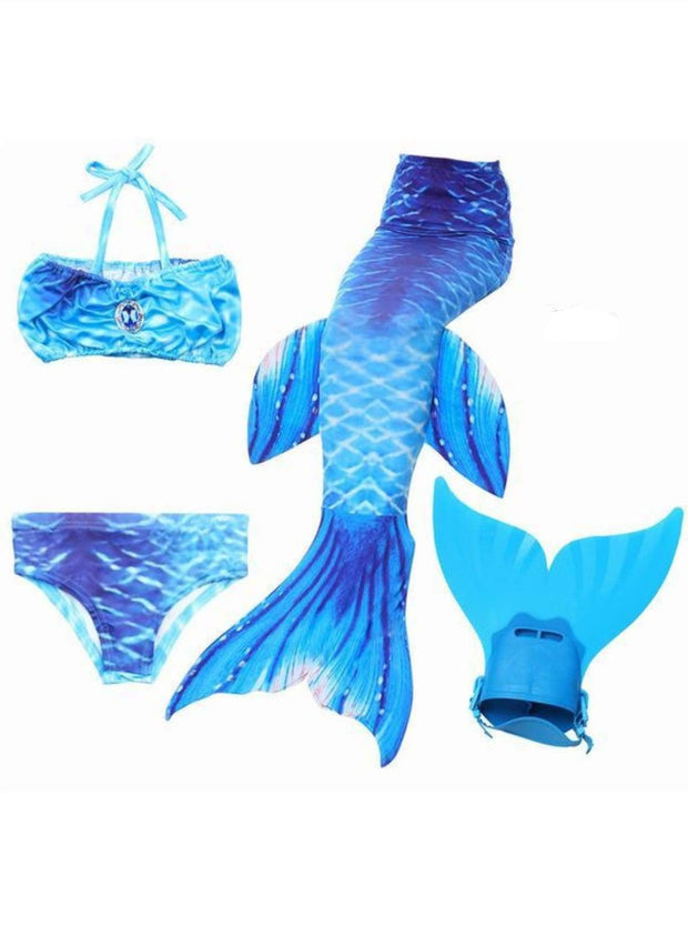 Girls 4 Piece Mermaid Set with Two Piece Swimsuit Mermaid Tail & Monofin - Blue / 4T - Girls Mermaid Swimsuit