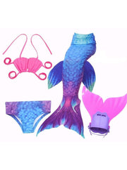 Girls 4 Piece Mermaid Set with Two Piece Swimsuit Mermaid Tail & Monofin - Blue & Hot Pink / 4T - Girls Mermaid Swimsuit