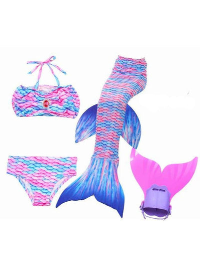 Girls 4 Piece Mermaid Set with Two Piece Swimsuit Mermaid Tail & Monofin - Pink & Blue / 4T - Girls Mermaid Swimsuit