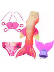 Girls 4 Piece Mermaid Set with Two Piece Swimsuit Mermaid Tail & Monofin - Pink & Orange / 4T - Girls Mermaid Swimsuit