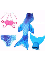 Girls 4 Piece Mermaid Set with Two Piece Swimsuit Mermaid Tail & Monofin - Royal Blue / 4T - Girls Mermaid Swimsuit