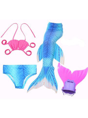 Girls 4 Piece Mermaid Set with Two Piece Swimsuit Mermaid Tail & Monofin - Turquoise / 4T - Girls Mermaid Swimsuit