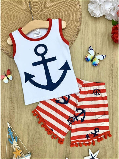 Girls 4th of July Nautical Sleeveless Printed Top & Striped Anchor Print Pom Pom Shorts Set - Red white blue / XS-2T - Girls Spring Casual