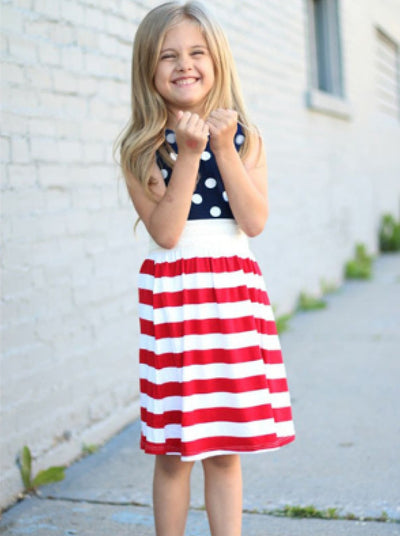 Girls 4th of July Polka Dot & Striped Dress - Girls Spring Casual Dress