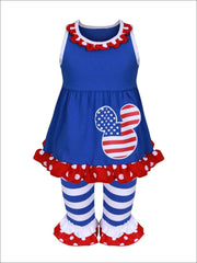 Girls 4th of July Sleeveless Ruffled Polka Dot Mouse Tunic & Striped Flared Ruffled Leggings Set - Girls 4th of July Set