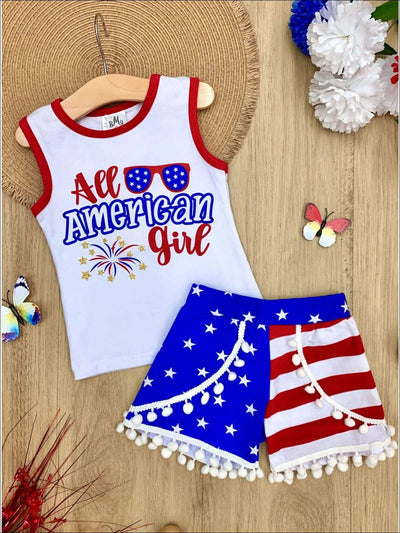 Girls 4th of July Themed All American Girl Tank & American Flag Print Pom Pom Shorts Set - Blue / XS-2T - Girls 4th of July Set