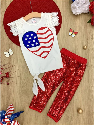 Girls 4th of July Themed American Flag Heart Top & Sequin Leggings Set - Red / S-3T - Girls 4th of July Set
