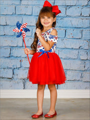 Girls 4th of July Themed Cold Shoulder Tutu Dress with Bow - Girls 4th of July Dress