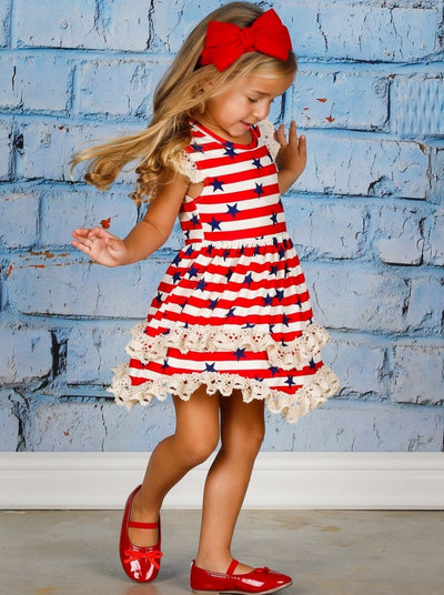 Girls 4th of July Themed Flutter Sleeve Lace Tiered Ruffled Dress - Girls 4th of July Dress