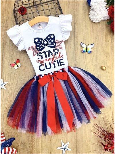Girls 4th of July Themed Flutter Sleeve Printed Top & Bow Tutu Skirt Set - Red / 2T - Girls 4th of July Set