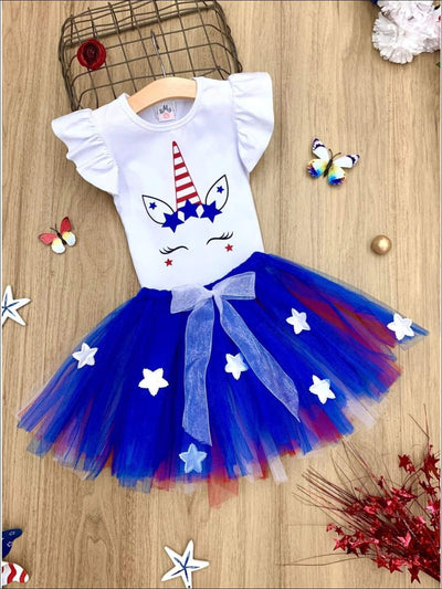 Girls 4th of July Themed Flutter Sleeve Printed Top & Bow Tutu Skirt Set - White / XS-2T - Girls 4th of July Set