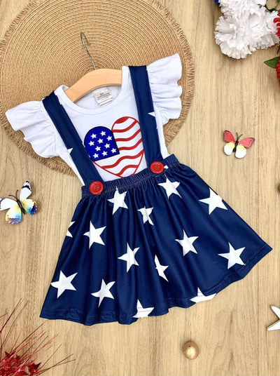 Girls 4th of July Themed Flutter Sleeve Top & Overall Dress Set - Navy / S-3T - Girls 4th of July Set