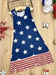 Girls 4th of July Themed Fringe Dress - Navy / 2T/3T - Girls 4th of July Dress