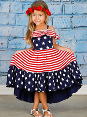 Girls 4th of July Themed Hi-Lo Star & Striped Print Off the Shoulder Ruffled Dress - Girls 4th of July Dress